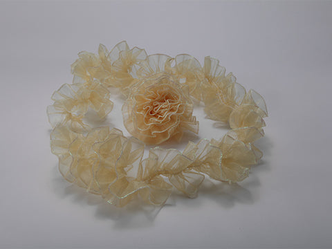Gold Ruffled Organza with Iridescent Wired Edge