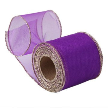 Sheer Purple Organza Ribbon with Gold Wired Edge