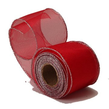 Sheer Red Organza Ribbon with Silver Wired Edge
