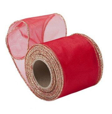 Sheer Red Organza Ribbon with Gold Wired Edge
