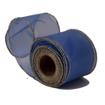 Sheer Royal Blue Organza Ribbon with Gold Wired Edge