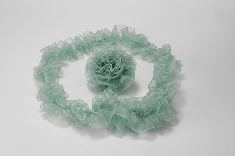 Sage Green Ruffled Organza with Iridescent Wired Edge
