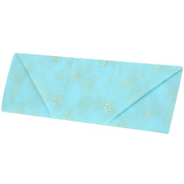 Aqua Organza with Gold Snowflake