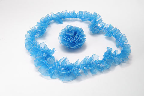 Turquoise Ruffled Organza with Iridescent Wired Edge