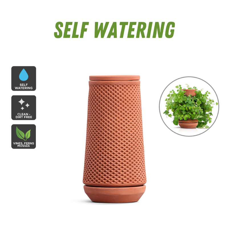Garden Heroes Self-Watering Terracotta Ceramic Planter