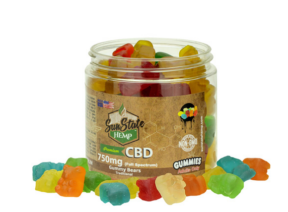 CBD FULL SPECTRUM GUMMY CLEAR BEARS 8OZ 750MG