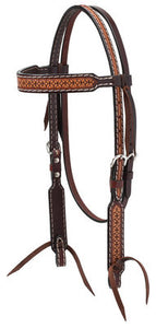 Turquoise Cross Geometric Tooled Browband Headstall