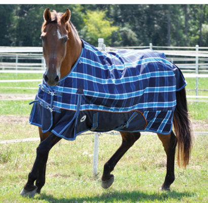 Jeffers 1200D Economy Plus Horse Blanket, Blue Plaid 240g