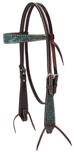Turquoise Cross Carved Flower Browband Headstall
