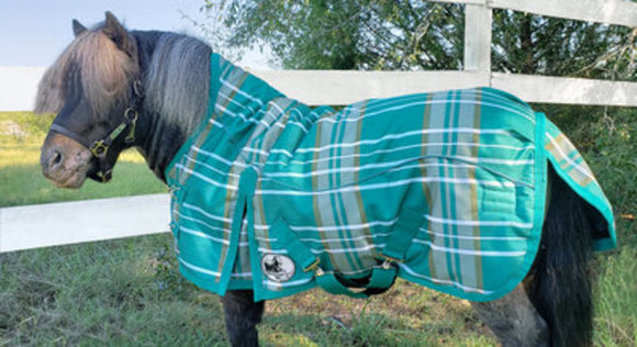 Pony Poppins Solaris Extended Neck Turnout Blanket, Emerald Green Plaid
