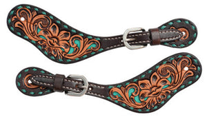 Circle Y Turquoise Buckstitch Ladies Spur Straps