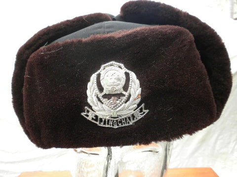 CHINESE POLICE ushanka style hat w/badge