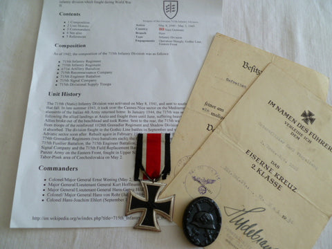 GERMAN EKII AND BLACK WOUND BADGE W?CERTS FOR BOTH