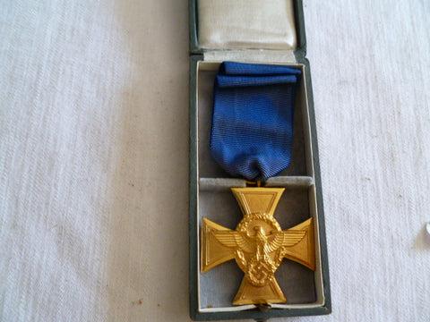 GERMAN RARE CASED 25 YEAR POLICE LONG SERVICE MEDAL