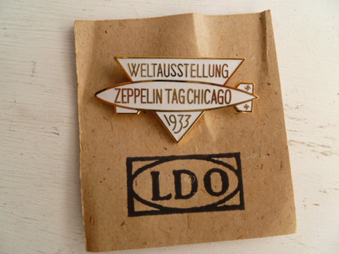 GERMAN WWII REPRO badge zeppelin world flight to usa on ldo card