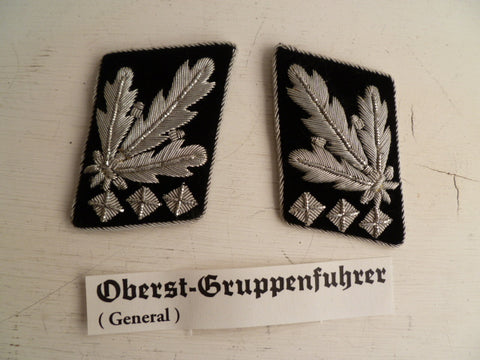 GERMAN WWII REPRO SS officers  rank tabs oberst gruppenfuhrer