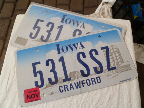 usa car  number plate iowa pair scarce