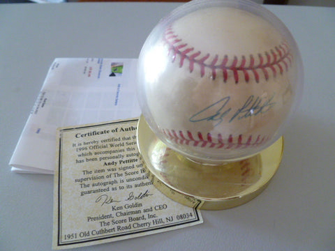 rawlings world series baseball signed by andy pettite1996