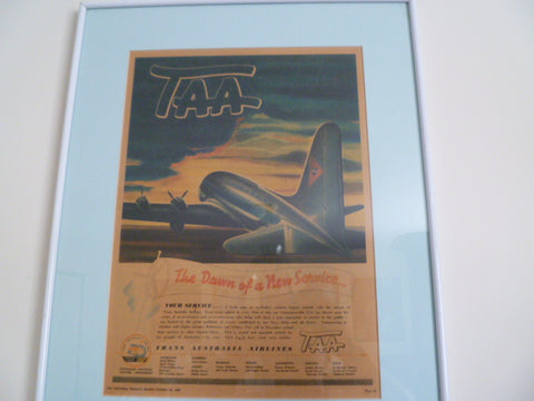 framed T.A.A genuine 1946 advert out of womens weekly
