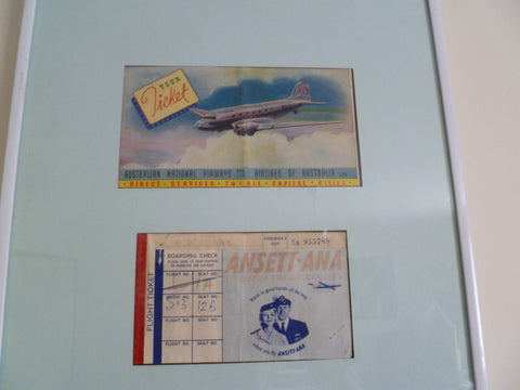framed ticket and ticket cover ANA ANSETT rare early 1944