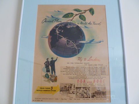 framed q.e.a and  b.o.a. c  genuine 1950 advert [qantas]