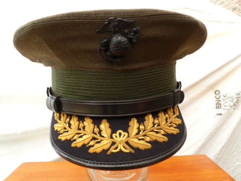 USA USMC OFFICERS PEAKED CAP FOR FULL COL.