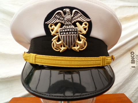 USA USN OFFICERS SUMMER PEAKED CAP