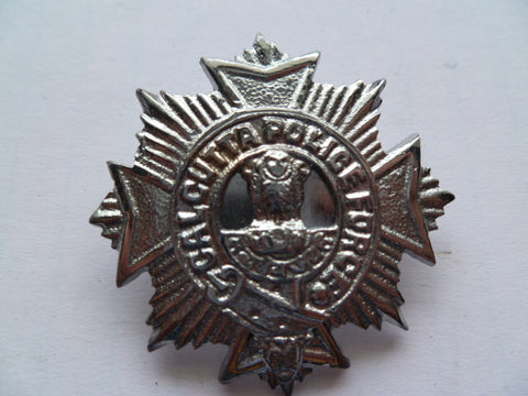 CALCUTTA police cap badge silver colour