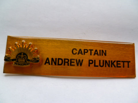AUSTRALIA army PR capt name tag  tittle 2 c/bs