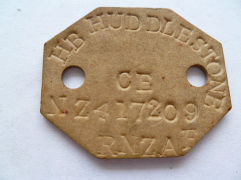 NEW ZEALAND dog tag rnzaf WWII