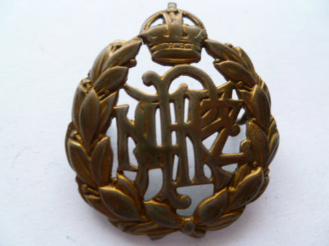 NEW ZEALAND RNZAF cap badge WWII k/c brass