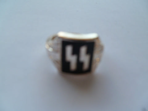 GERMAN WWII SS ring plated bright silver size 11 only