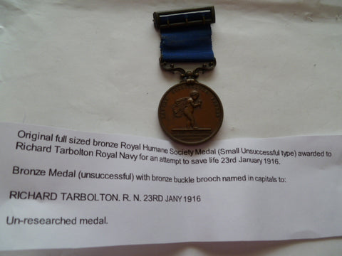 royal humane society medal w/buckle in bz 1916 issue