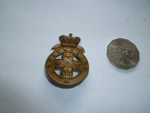 australia pre fed qld defence forces cap badge