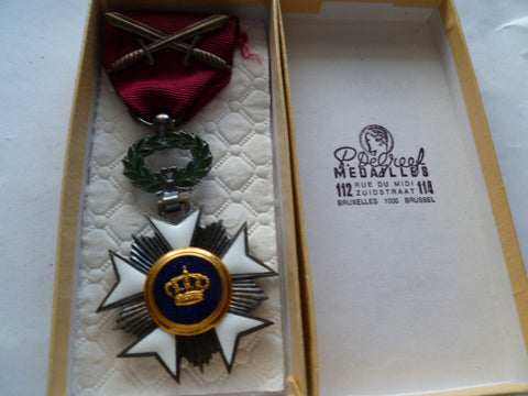 belgium order of the crown military w/swords