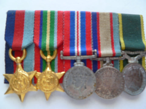 australia ww2 miniature group of 5 w/eff medal