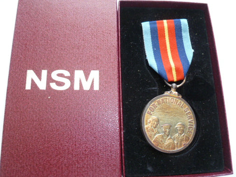 brit national service medal in box of issue