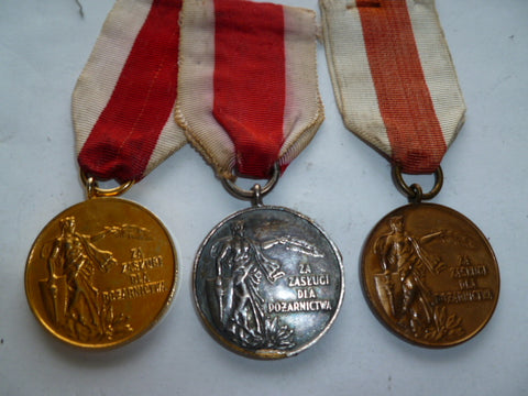 poland set of the 3 fire service medals gold,silver.bronze