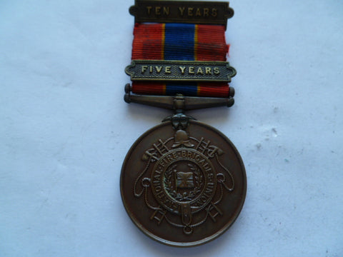 brit fire brigade NFBU 1910  w/5 year bar and 10 year bar
