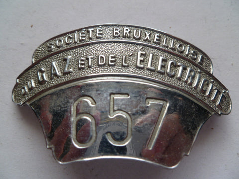 belgium brussels gas and electric inspector badge  #657