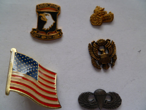 us army 5 badges for adhering onto zippos etc  1 flag
