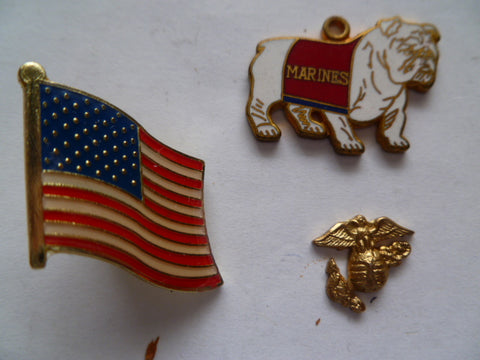 us usmc 3 badges for adhering onto zippos etc  1 flag