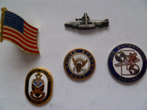 us navy 4 badges for adhering onto zippos etc  1 flag