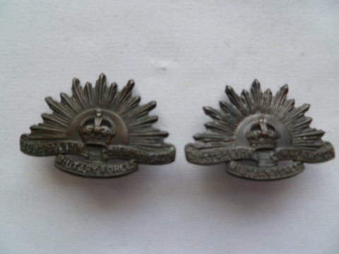australia rising sun badge collars pair genuine stokes