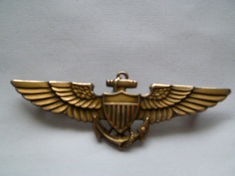 usa ww2  USN full size wing PILOT m/1/20 gold10k st sil