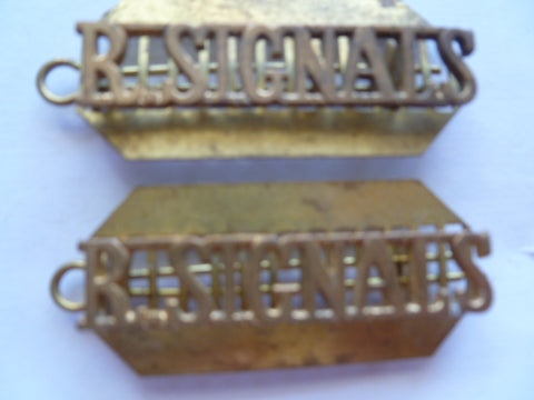 brit ww1/2 signal titles pair [2] w/backing plates