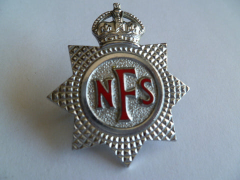 brit nat fire service cap badge ww2m period ex cond