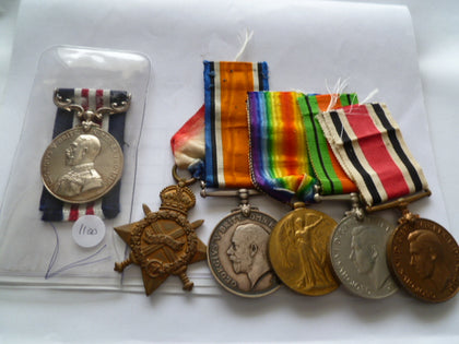 brit ww1 MM group of 6 ww1 thru ww2 and spec const medal RE