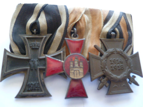 germany group 3 medals ek2 and hamburg cross +ww1 cross