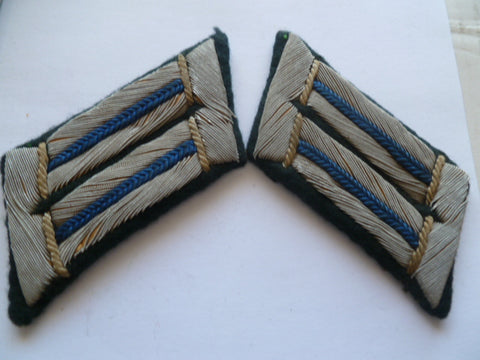 german ww2 collar tabs bullion blue piping PAIR